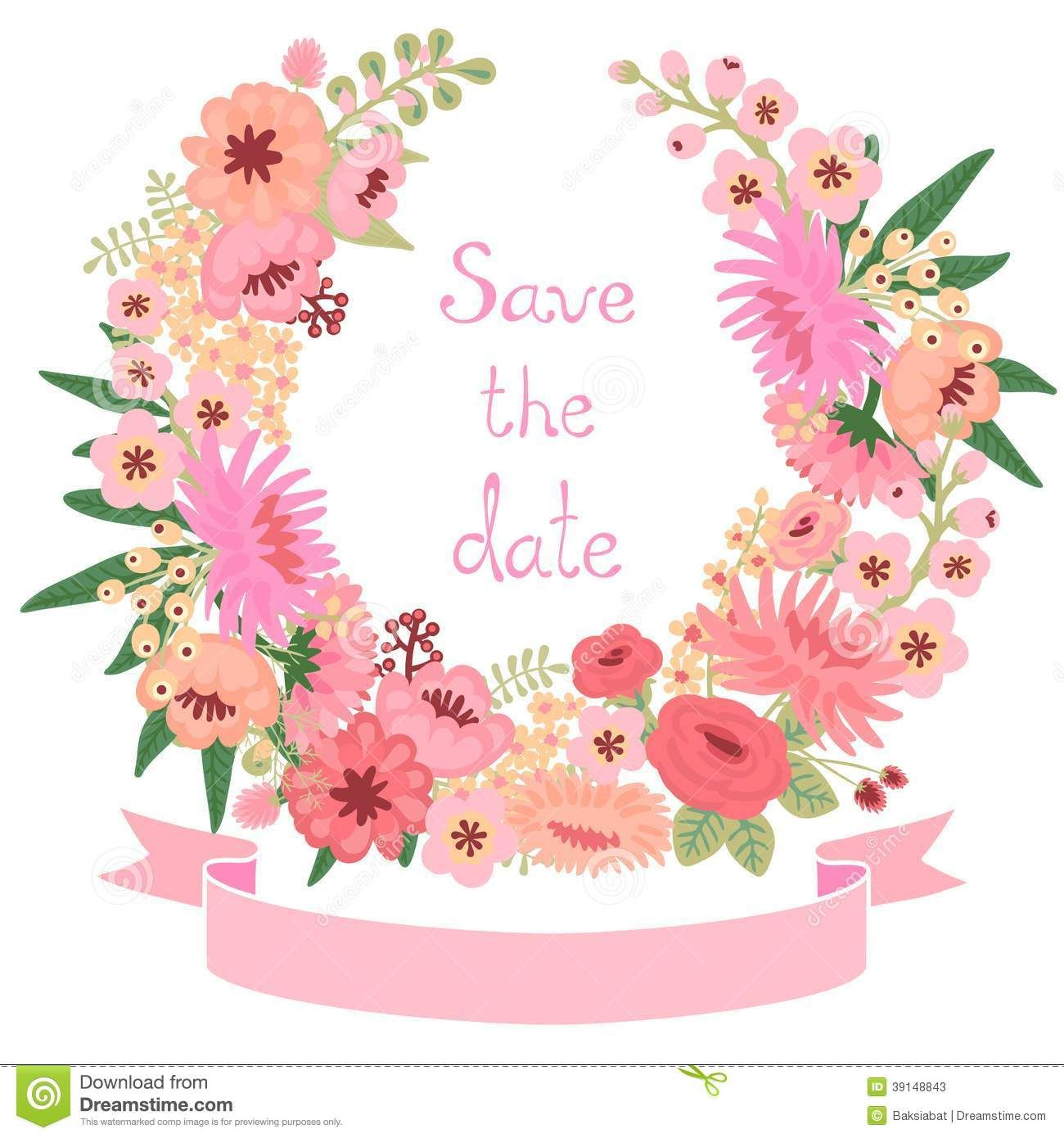 Vintage Card With Floral Wreath Save The Date Vector Image On VectorStock
