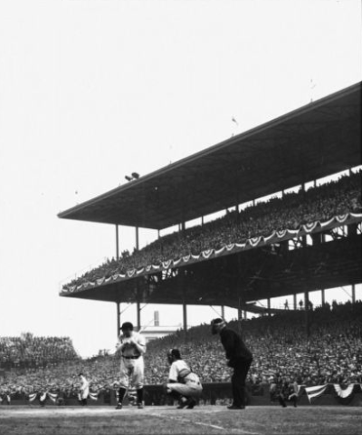 Babe Ruth at bat during the 1932 World Series, Yankees vs. Cubs, Wrigley Field, Chicago.
