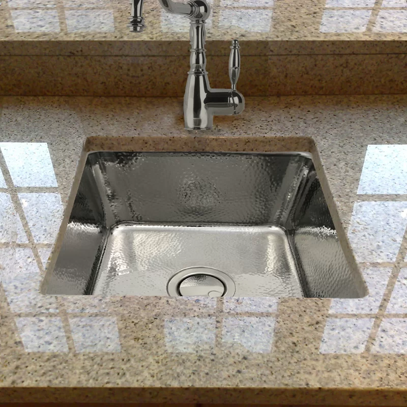 Brightwork Square Hammered Stainless 17 L X 17 W Bar Sink In