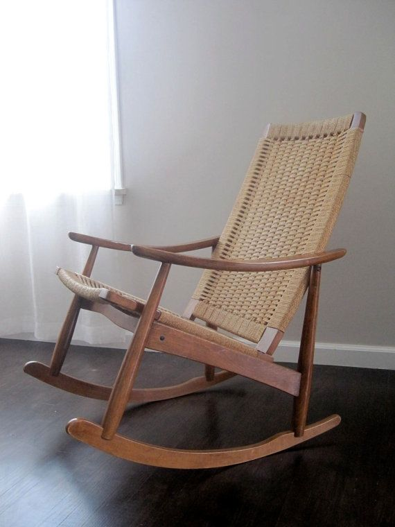 Mid Century Danish Modern Woven Rope Rocking Chair By Rhanvintage