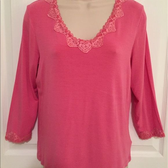 I just discovered this while shopping on Poshmark: Pink 3/4 Length Sleeve V Neck Dressy Cotton Shirt. Check it out!  Size: 8