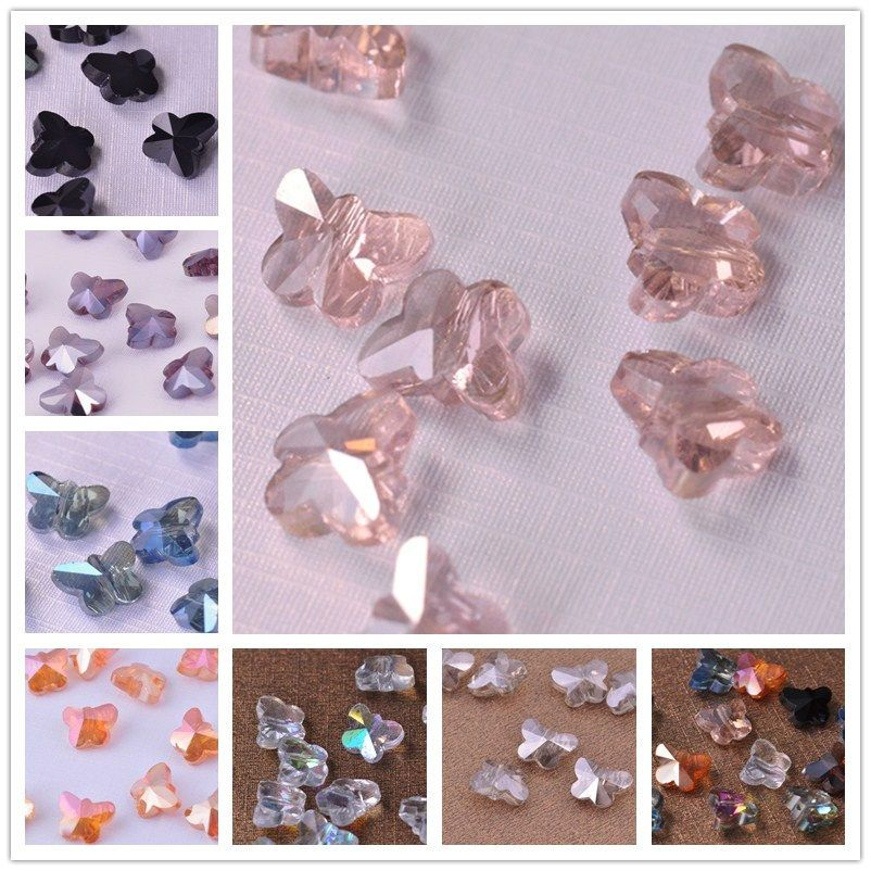 10pcs 14mm Butterfly Shape Crystal Glass Faceted Loose Beads Pendants Jewelry