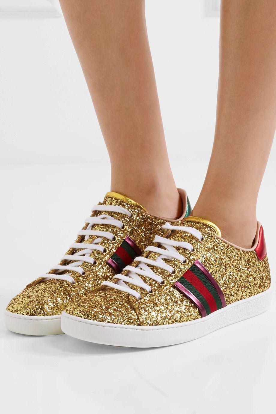 As Chaussures De Sport En Cuir Pailletés Garni Métallique - Or Gucci gvSG8Z0IR