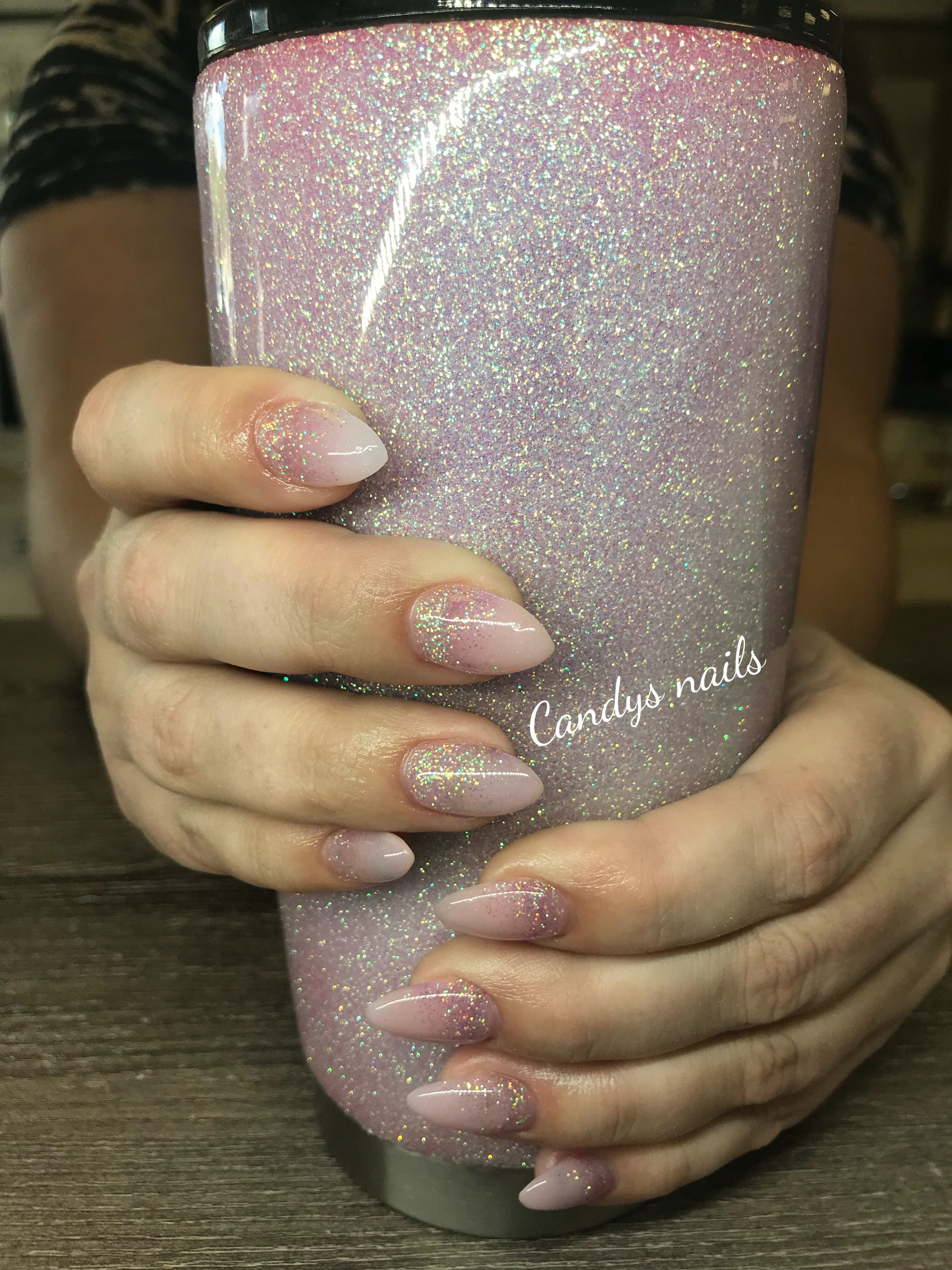 Light Pink Holographic Glitter Fade Acrylic Nails Faded Nails Nails Glitter Fade Nails