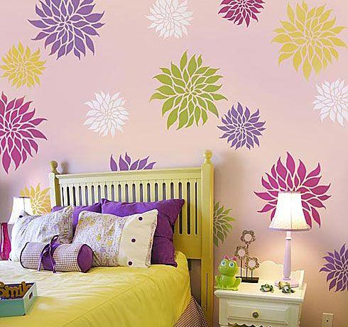 Flower Stencil Dahlia Grande MED -Reusable wall stencils Better than wall decals  sc 1 st  Pinterest & Beautiful flower stencils for walls. Reusable easy stencils for home ...