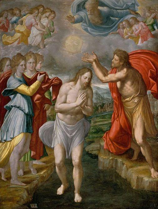 Resultado de imagen para escena del bautismo de jesus pintura