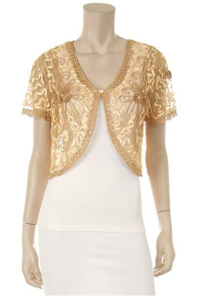 Gold Lace Bolero Jacket Short Sleeve w/ floral pattern,small ...