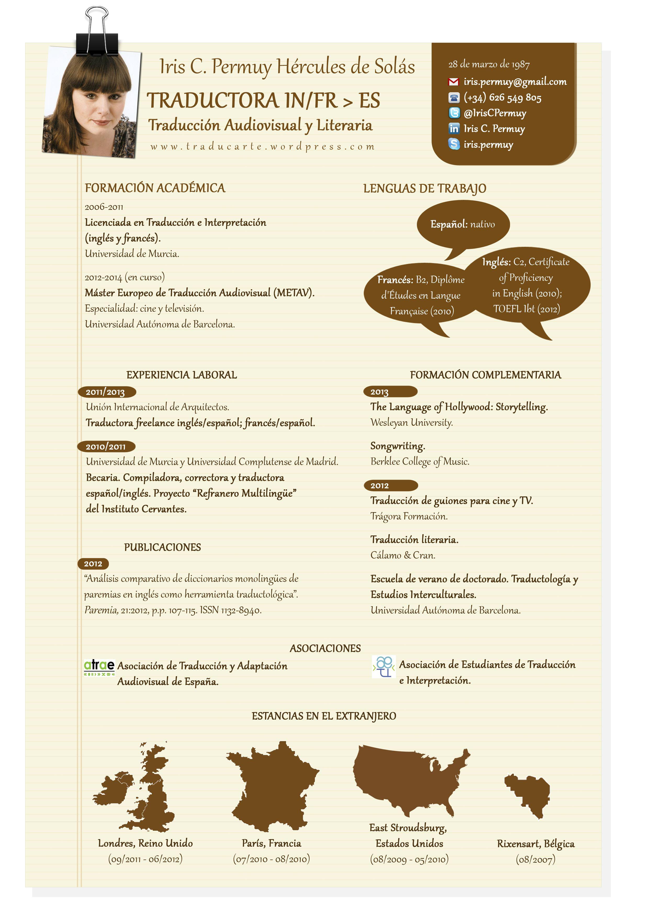 el cv de traductor freelance en 500 palabras leonhuntersl cv de iris permuy de su blog traduccin pinterest resume cv and infographic