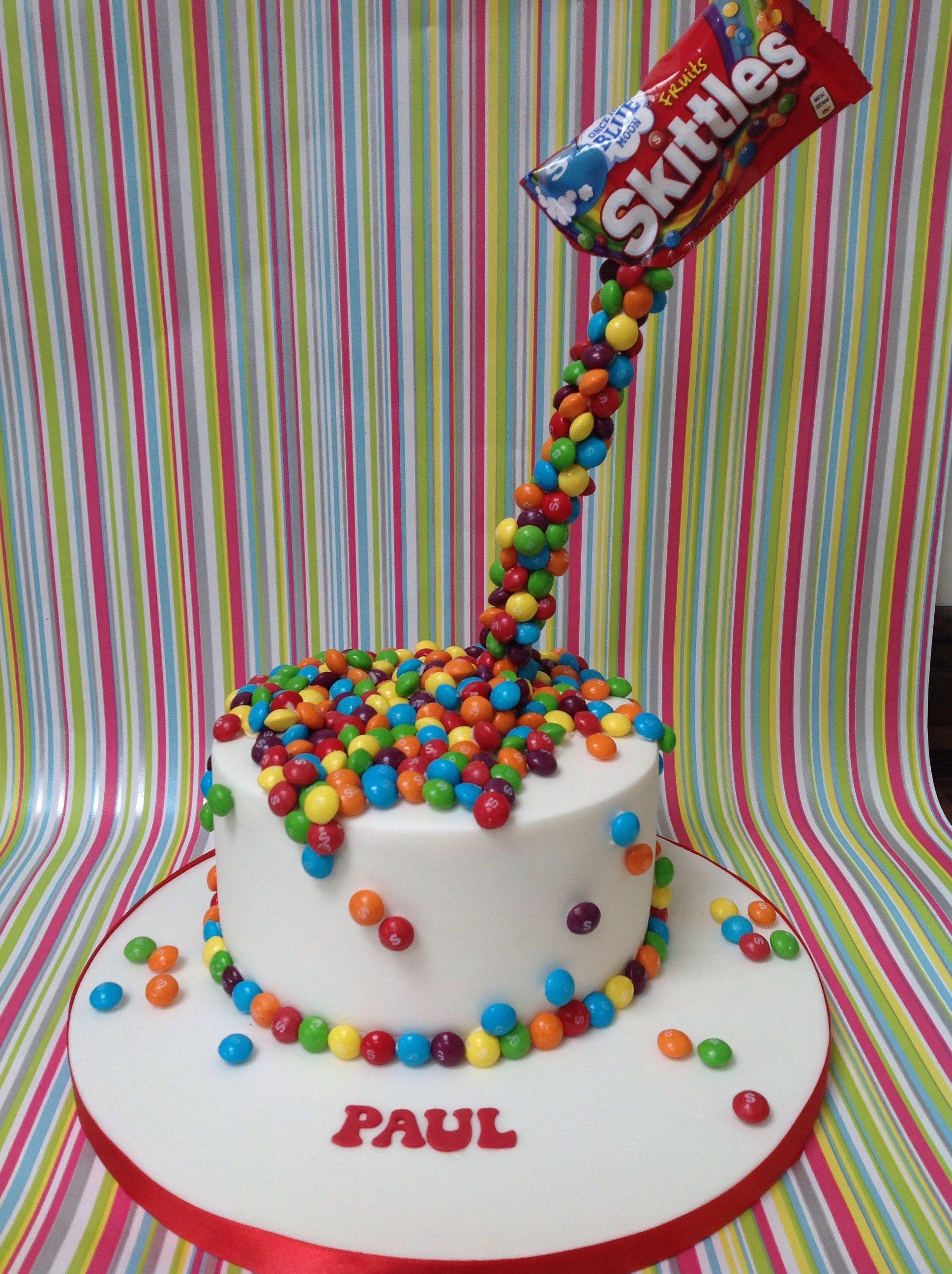 Super Floating Skittles Cake Skittles Cake 12Th Birthday Cake Cake Birthday Cards Printable Benkemecafe Filternl