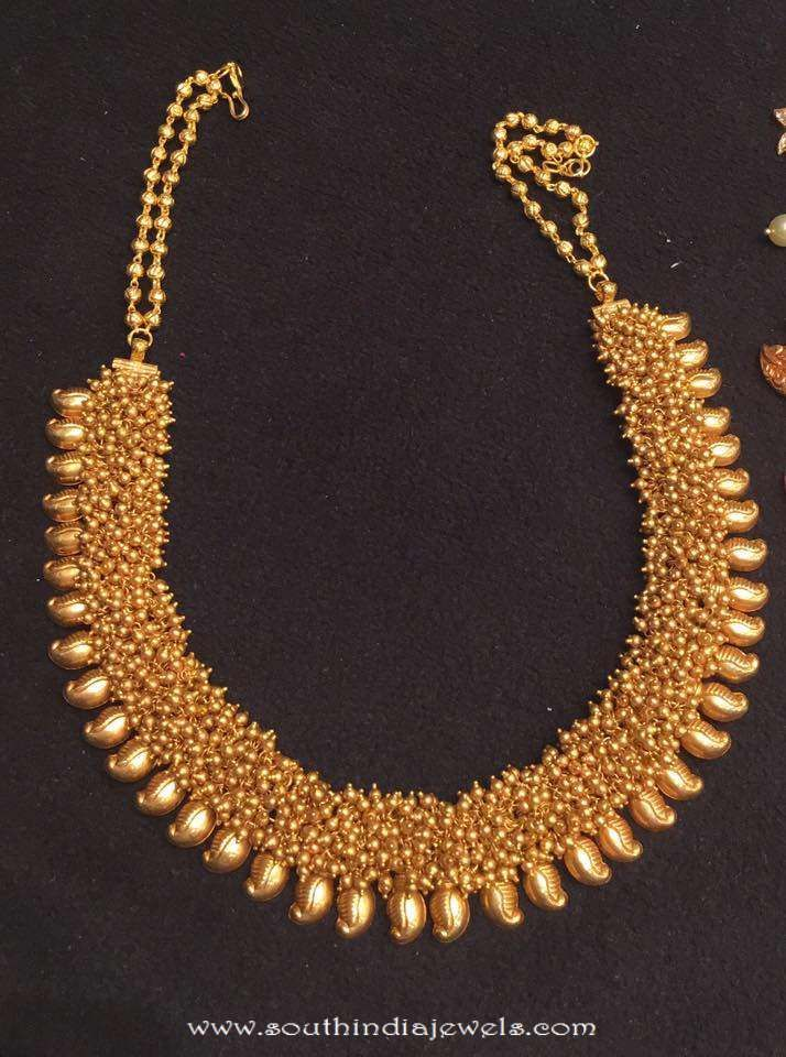 90 Grams Gold Clustered Beads Necklace Crochet Flowers