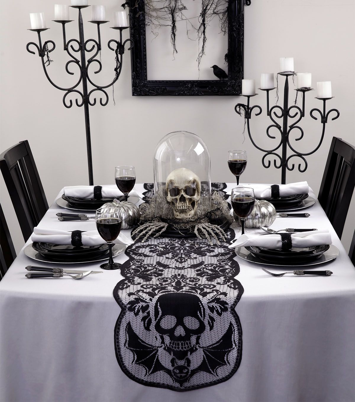 Maker S Halloween 72 X14 Table Runner Skull Joann Jo Ann Halloween Dining Room Goth Home Decor Decor