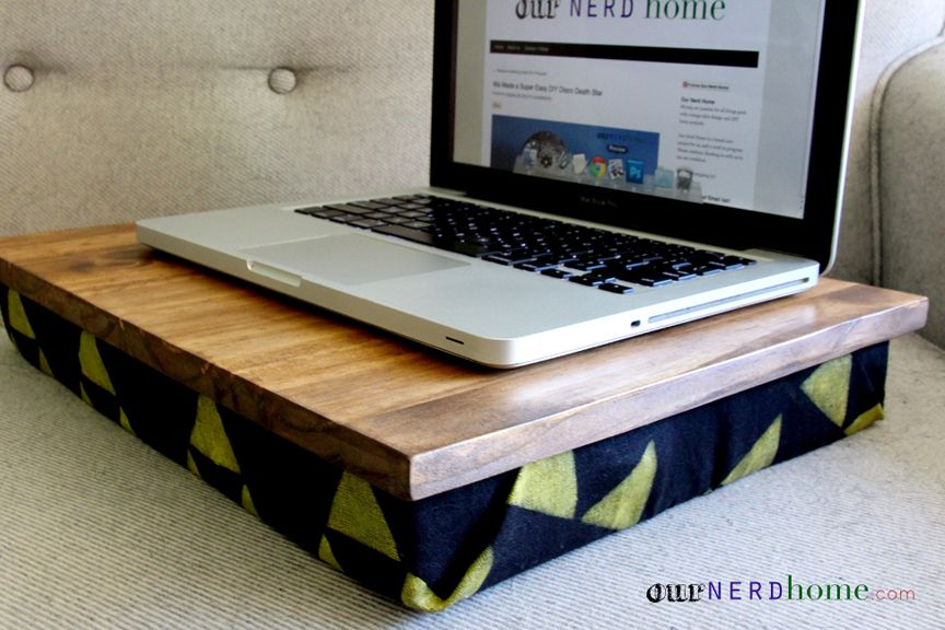 Diy lap desk with hand stamped legend of zelda fabric diy gift time