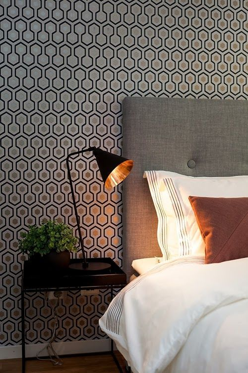 home interior design love this wallpaper cole son hicks hexagon - Home Interior Design Ideen Schlafzimmer
