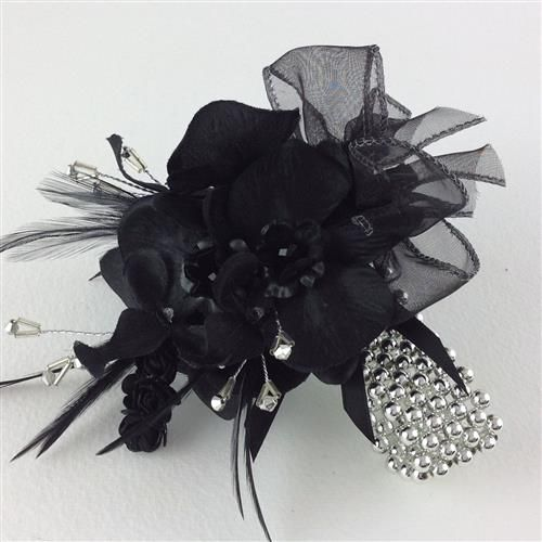 Black Orchid Silk Flower Wedding Crystal & Feather Wrist Prom Corsage. This everlasting prom wrist corsage comes boxed.