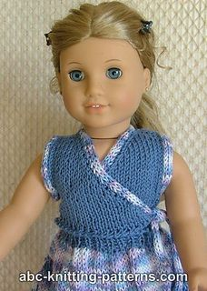 American Girl Doll Sleeveless Wrap Top with Applied I-Cord pattern by Elaine Phillips