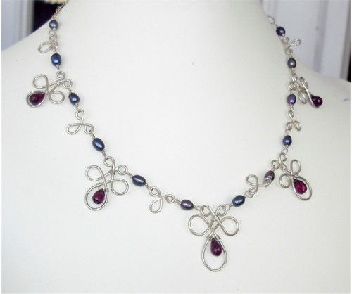 Sterling Silver Celtic Knot Necklace with Garnet Teardrops ...