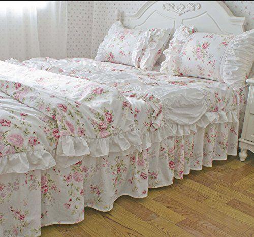 Fadfay Home Textile American Rustic Vintage Fl Bedding Set Sweet Pink Roses Duvet