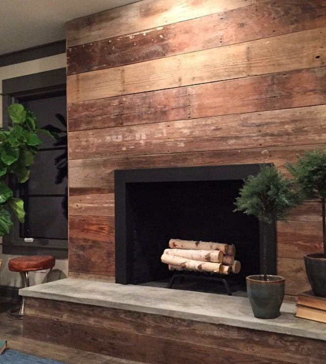 Reclaimed wood fireplace.
