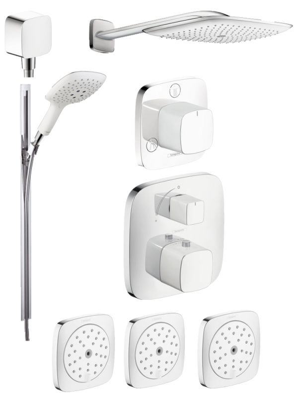 Beau Hansgrohe HG T304 PuraVida Shower Faucet With Thermostatic / Volume Control  Trim Chrome / White Faucet Shower System Triple Handle