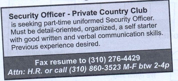 Texto perfeito para atividades com o Gênero Textual anúncio de - club security officer sample resume