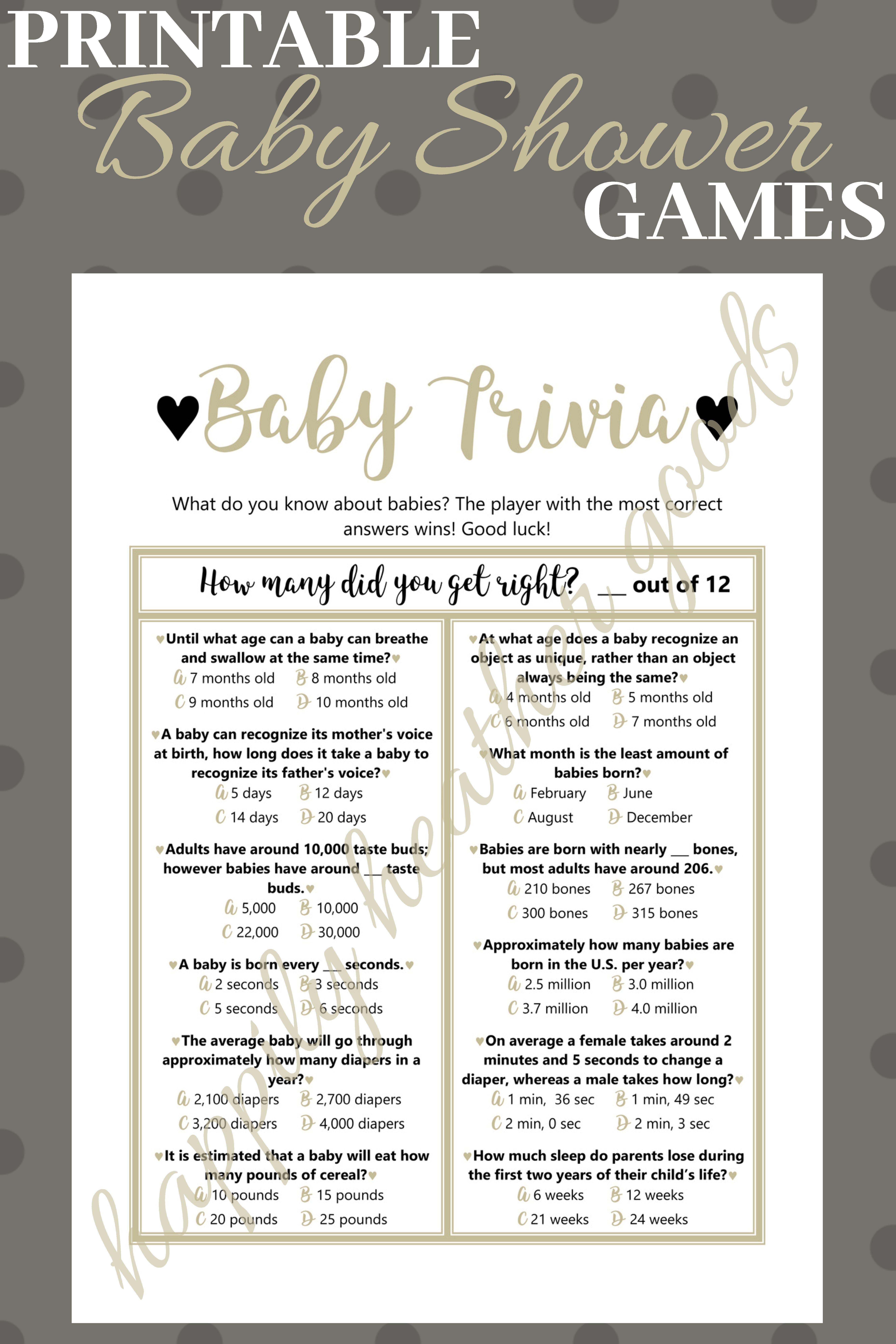 Baby Trivia Game Baby Shower Games Gender Neutral Baby Shower