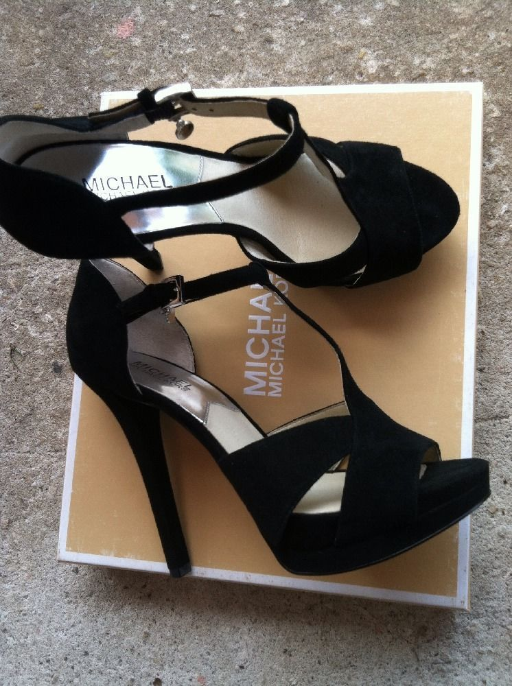 af63eb34963c Michael Kors Francoise T Strap Black Suede Heels Sz 8.5 GREAT CONDITION MK  Heels  MichaelKors  Strappy