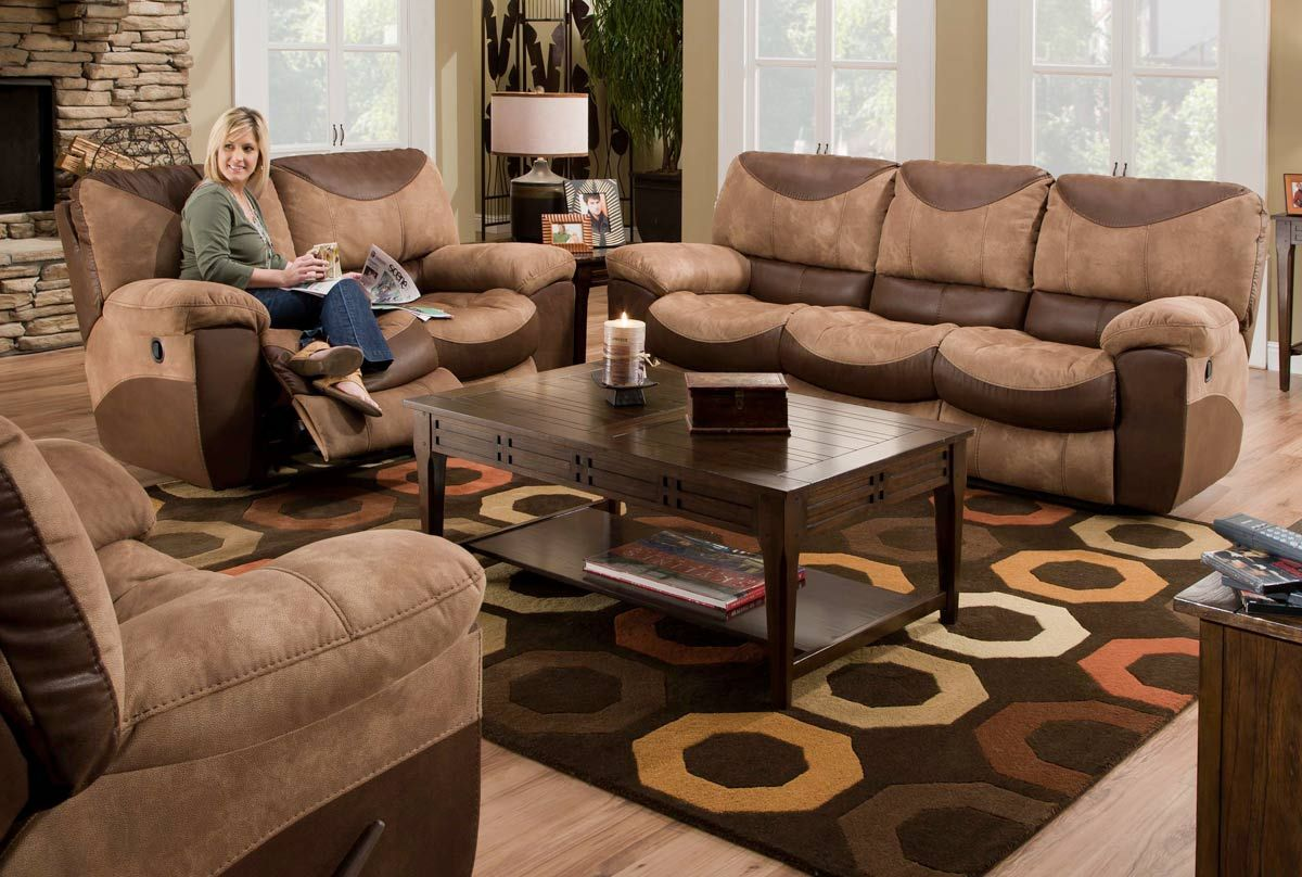 Catnapper Portman Power Reclining Sofa Set Saddle Chocolate Sofa And Loveseat Set Contemporary Living Room Sets Living Room Sets