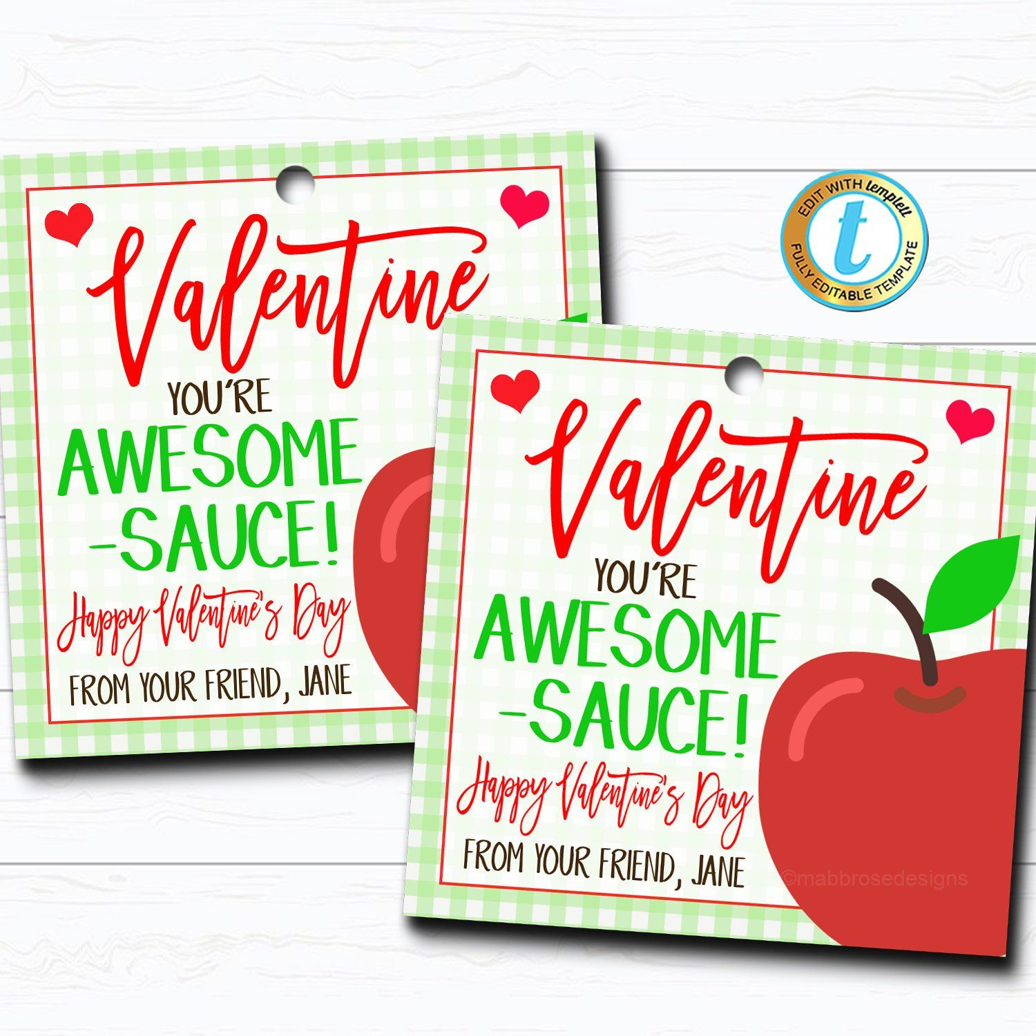 Valentine Applesauce T Tags You Re Awesome Sauce