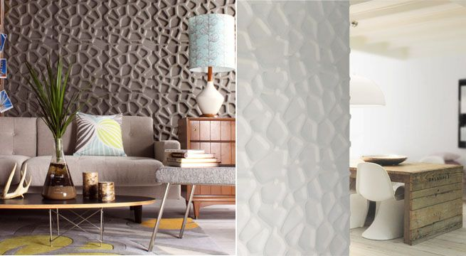Paneles en relieve para decorar paredes Materiales y Texturas