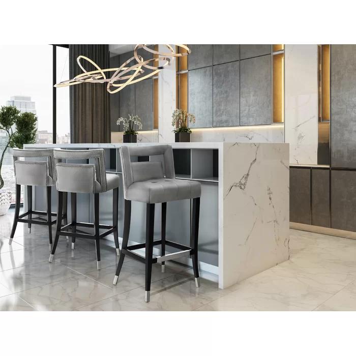 Everly Quinn Cain Velvet Bar Counter Stool Reviews Wayfair Counter Stools Bar Stools Bar Furniture