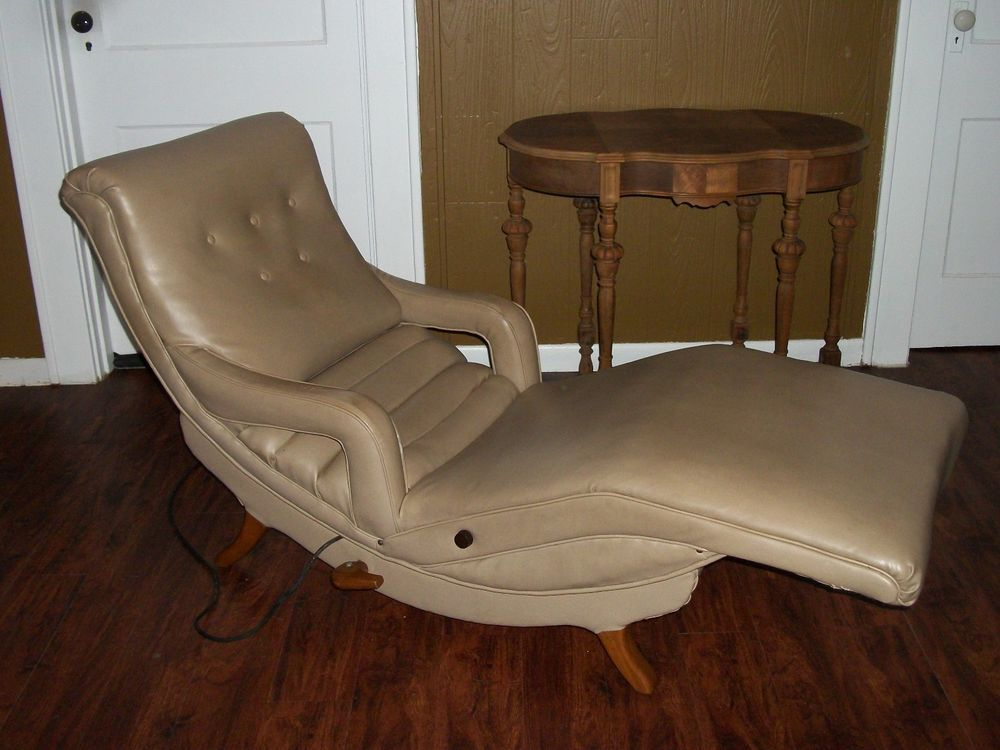 Pull Out Bed Chair Behind The Vintage Contour Lounge Massaging Mid Century Modern Recliner Massage 1950s | ...