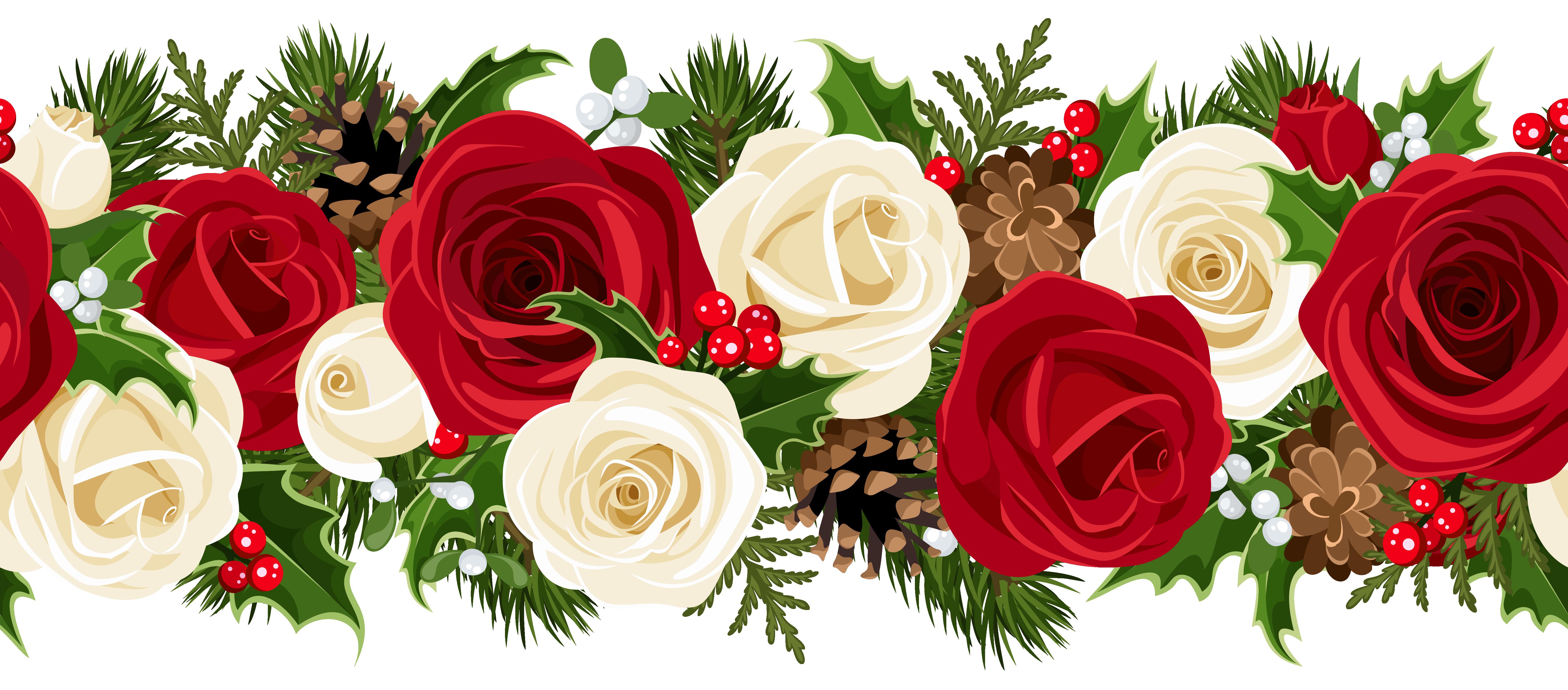 Christmas Rose Garland Png Clip Art Image Christmas Rose Christmas Boarders Christmas Decoupage