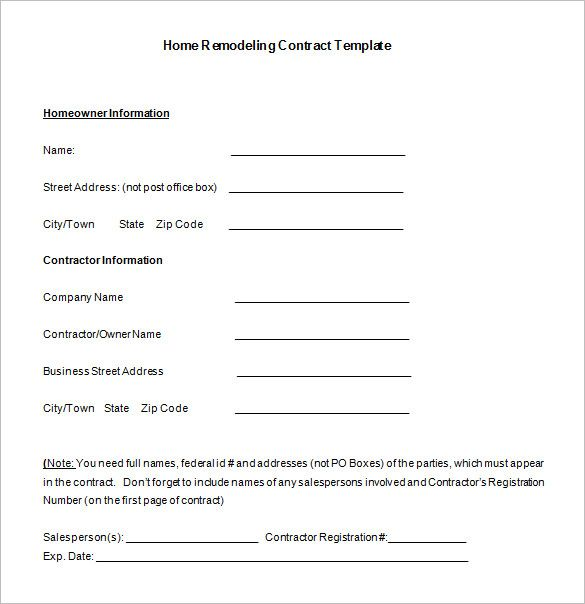 Example Home Improvement Contract Template Download Contract Template Contract Templates Contract