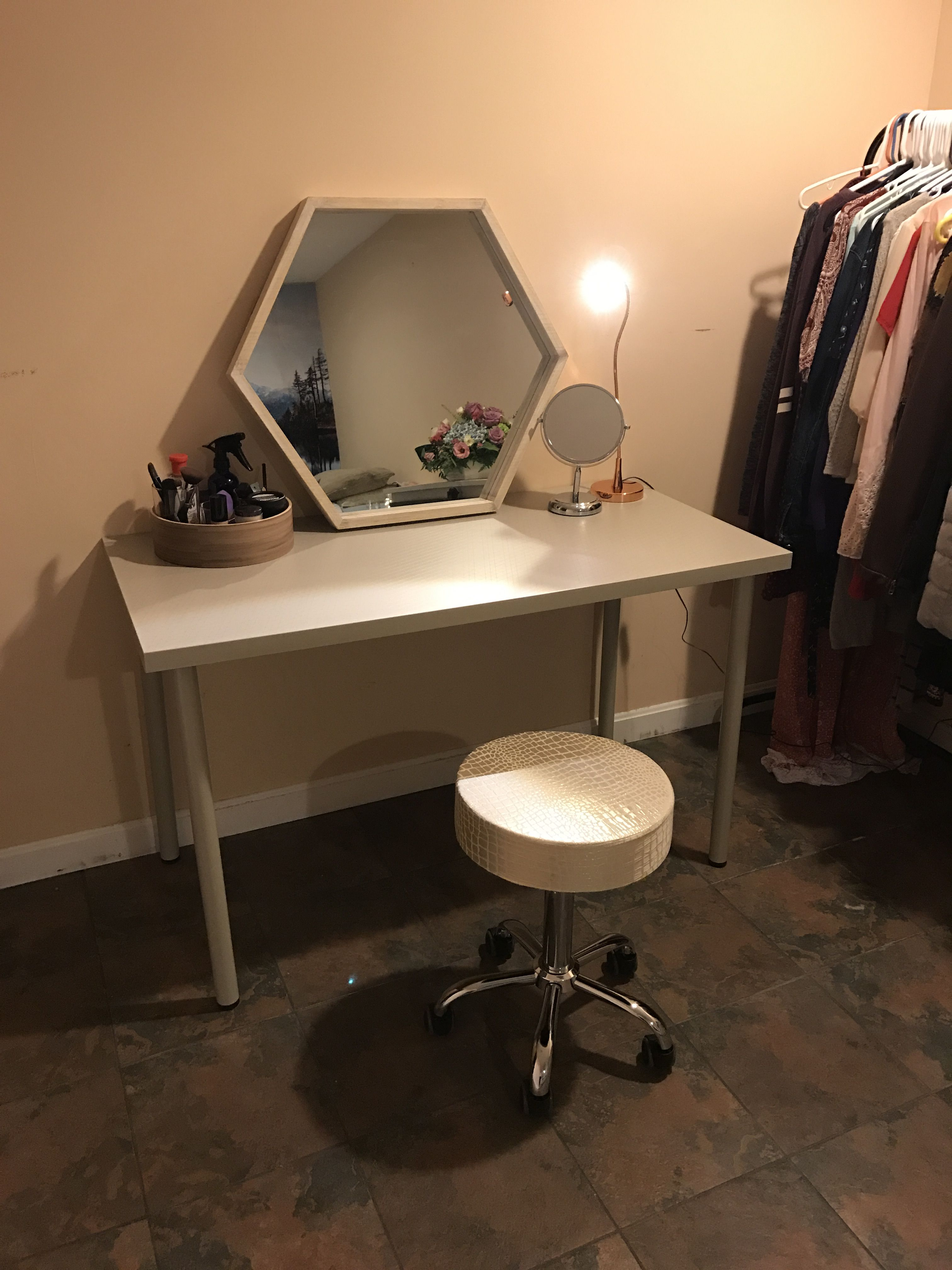 Simple Vanity Set Up By Me Desk From Ikea Everything Else Home
