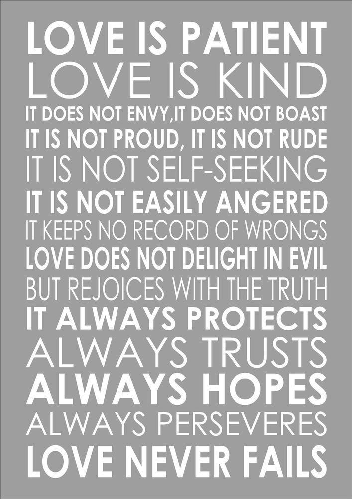 Love Is Patient Love Is Kind 1 Corinthians 13 4 Popular Wedding Reading Nn Port Ebay Love Is Patient Encouragement Quotes Christian Love Words