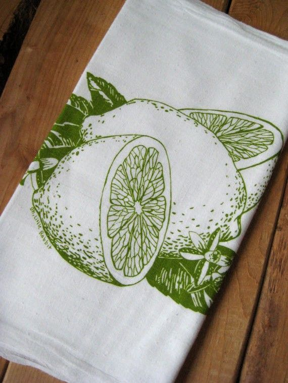 Organic Cotton Citrus Flour Sack Tea Towel