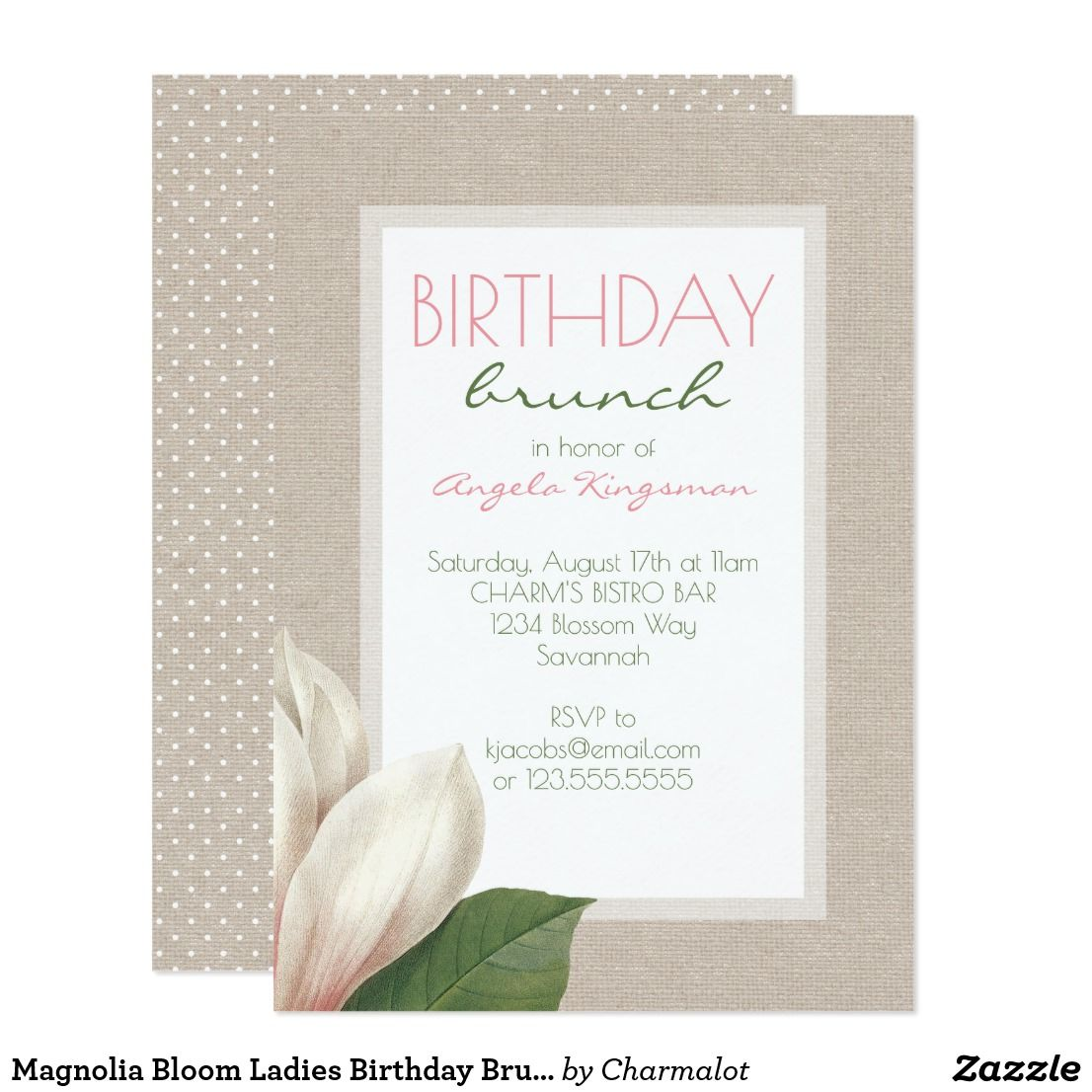 Magnolia Bloom Ladies Birthday Brunch Invitation | { Happy Birthday ...