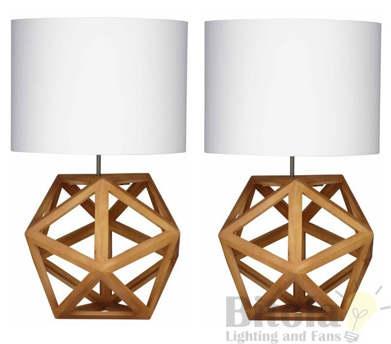 Pair Of Hexagon Bedside Lamps Table Blonde Wood Base White Shade