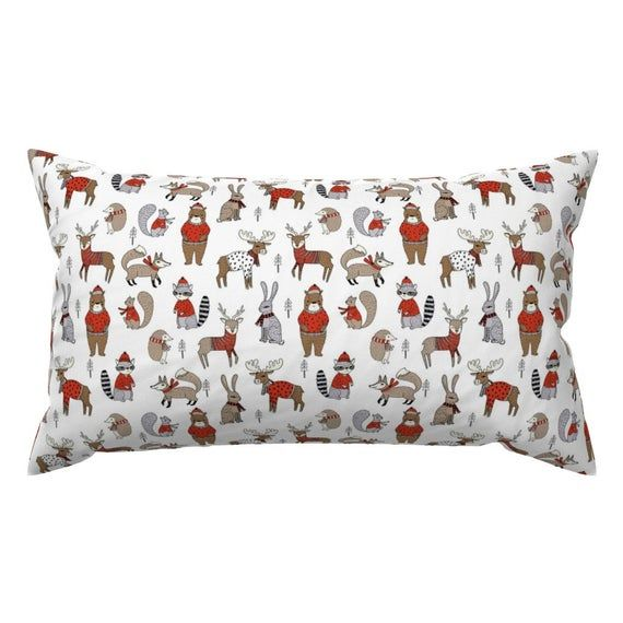 Holiday Accent Pillow - Woodland Christmas Animals  by andrea_lauren - Whimsical Winter  Forest Rect