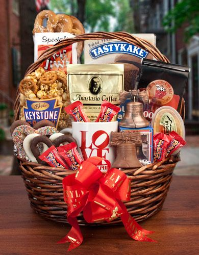 """""""Philly Favorites Basket"""" - Perfect for the #college graduate about to break out the books for finals!"""