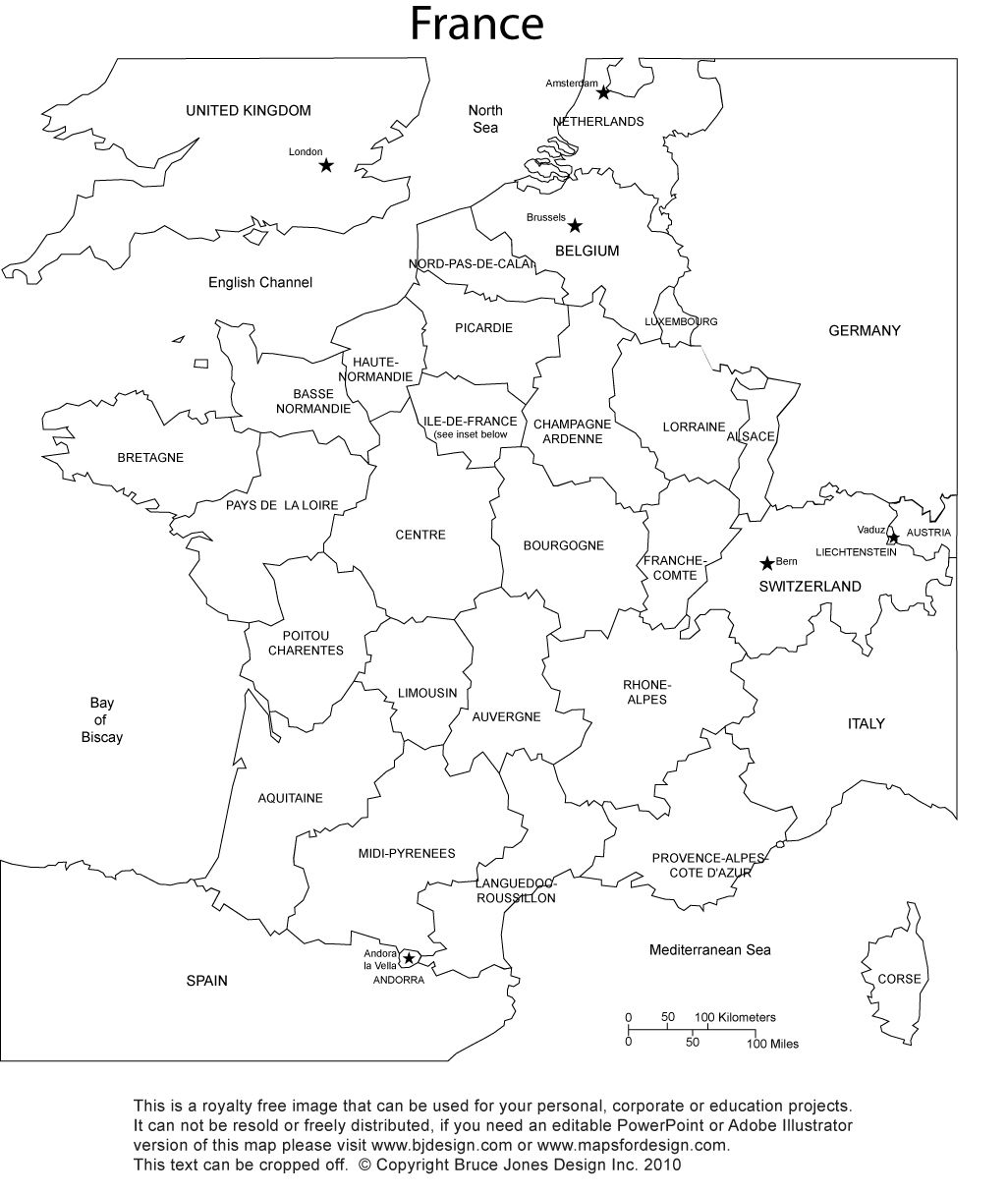 France Blank Printable Map With Provinces Royalty Free