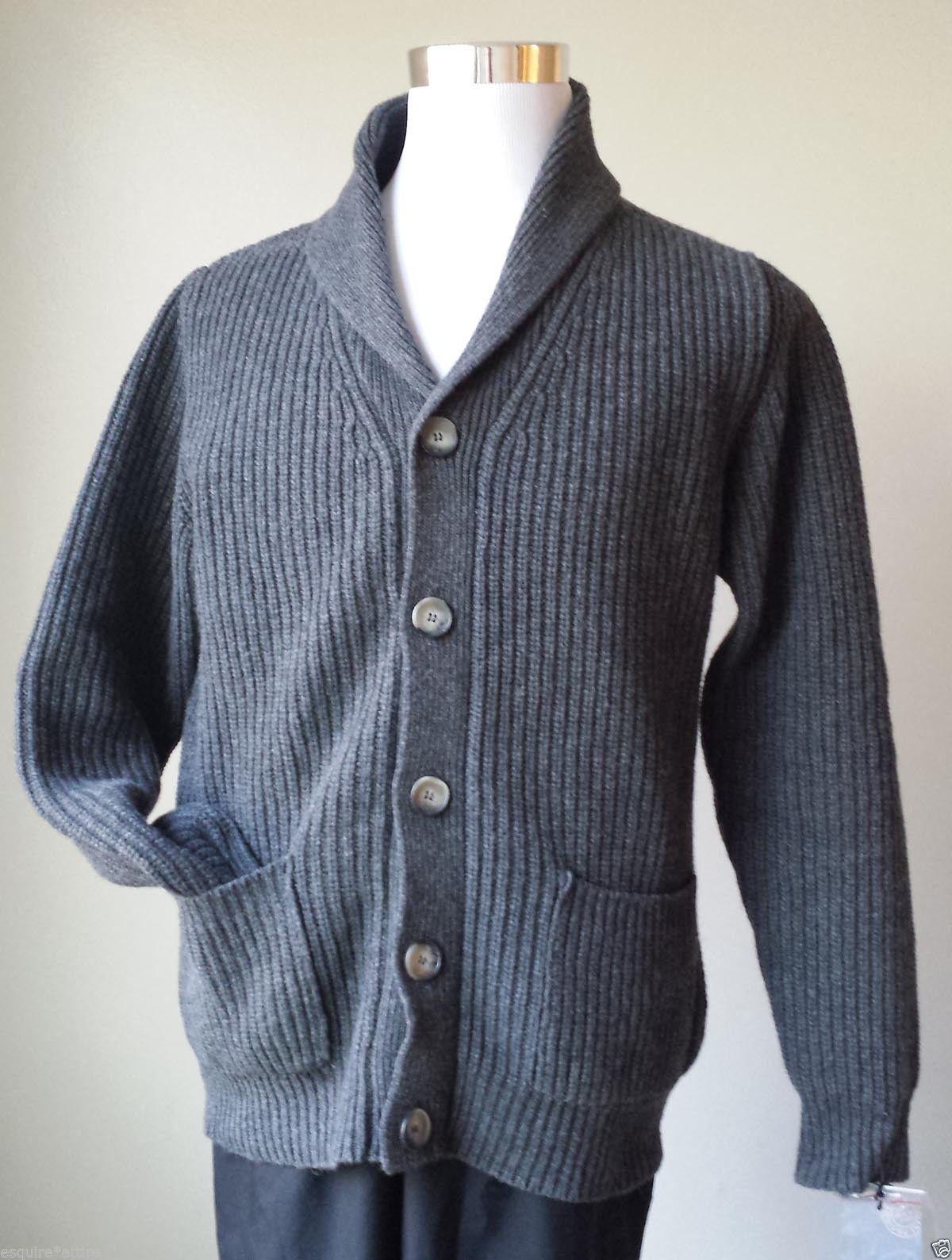 Details about Men Wool Cardiga Sweater Size M UOMO FIRENZE dark ...