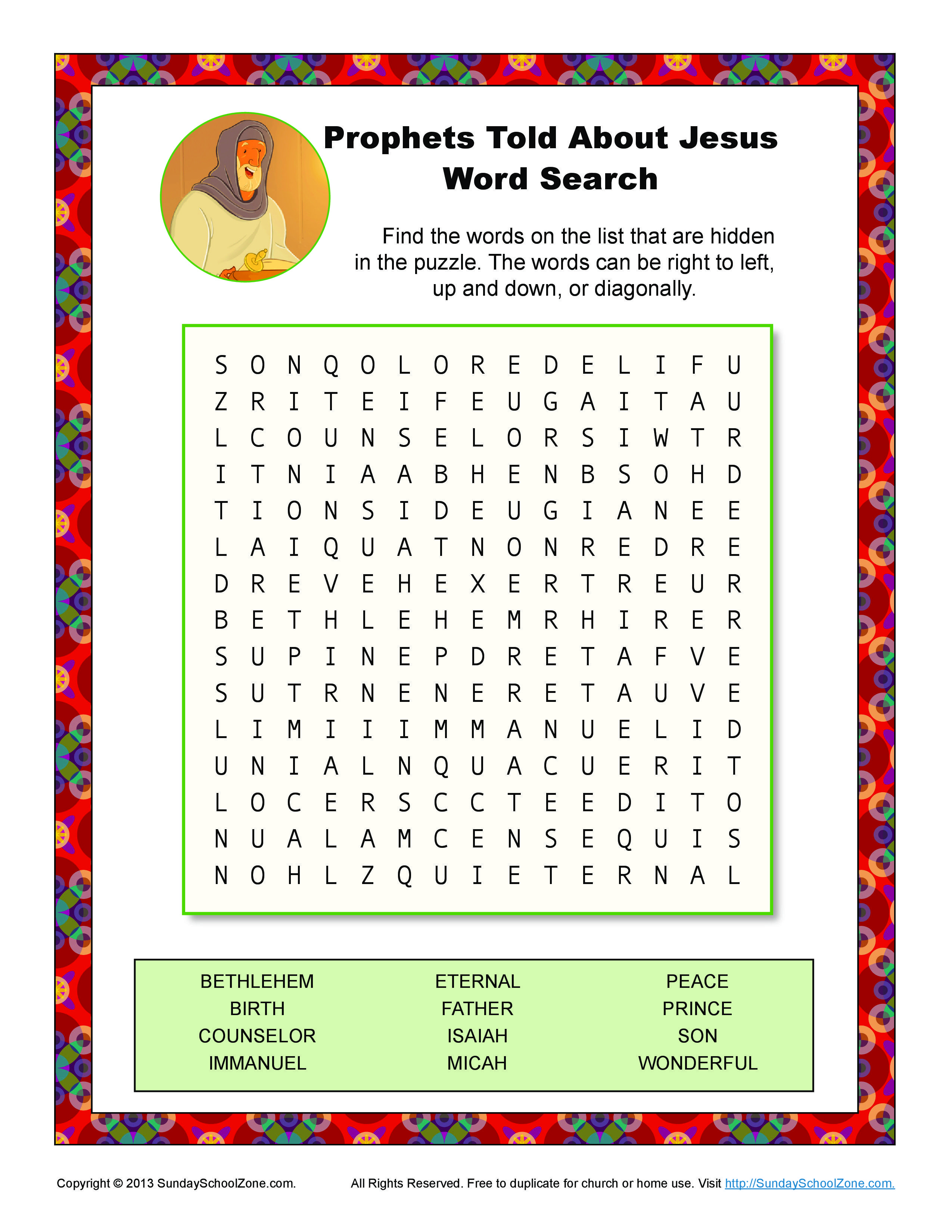 Prophets Told About Jesus Word Search Sunday School Kids Bible
