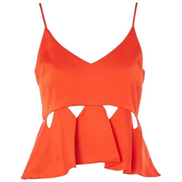 12d6b8b770a131 Topshop Satin Cut Out Cami Top ($32) ❤ liked on Polyvore featuring tops, red,  stringer tanks, satin camisole tops, satin cami, satin tank and cut-out ...