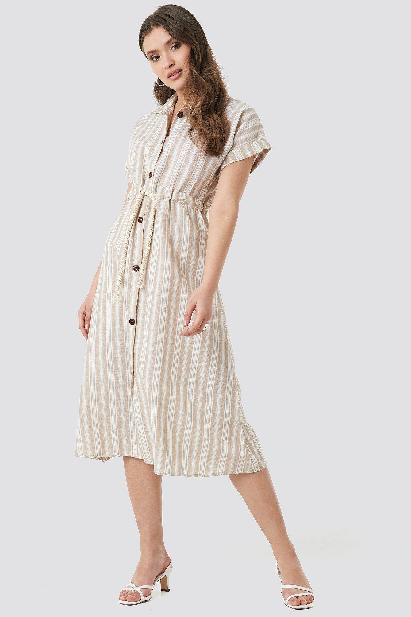 Yol Striped Midi Dress   Midikleider, Kleid mit ärmel und ...