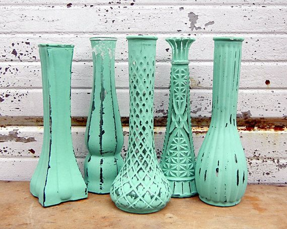 """One Sweet Random Vase - 9"""" Tall Mint Green Mixed Style Glass Bud Vase Painted Bright Trendy Color Vintage Shabby Chic Modern Distressed. $9.00, via Etsy."""