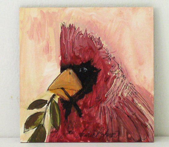 Original Painting Acrylic Panel Cardinal by BetweenTheWeeds, $12.00
