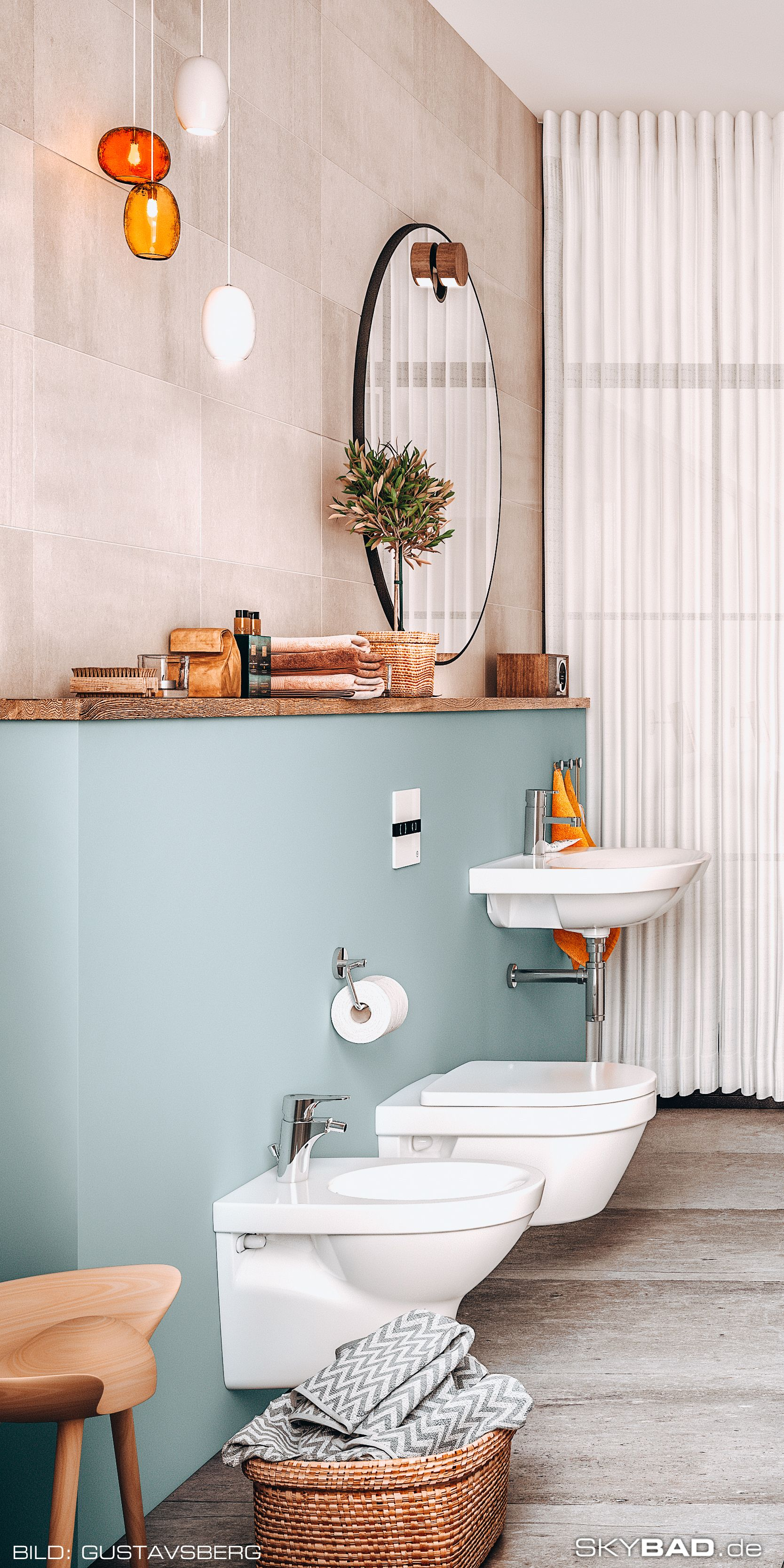 Ideen Und Inspiration Zum Verschonern Dekorieren Und Schmucken Des Badezimmers Mit Rundem Vintage Spiegel In 2020 Badezimmer Mit Schrage Kleine Badezimmer Badezimmer