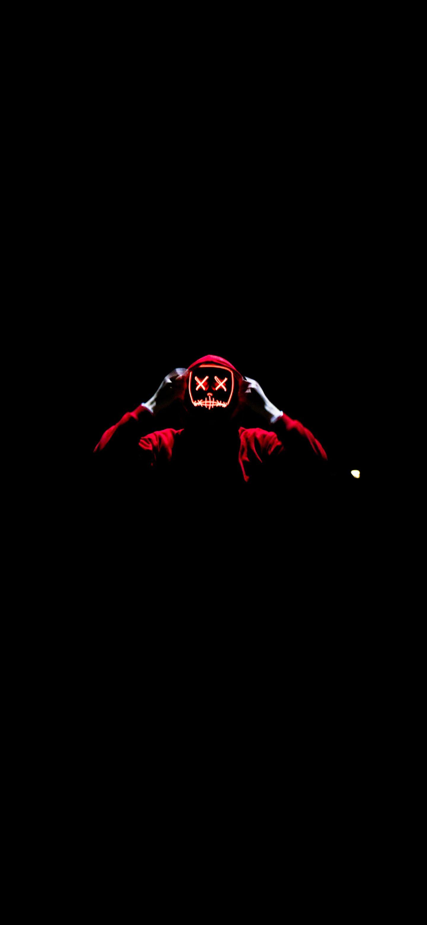 Guy With Illuminated Neon Mask Neon Wallpaper Black Wallpaper Dark Wallpaper
