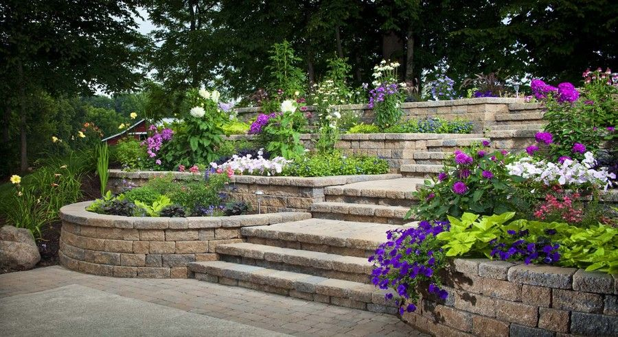 tiered landscaping backyard